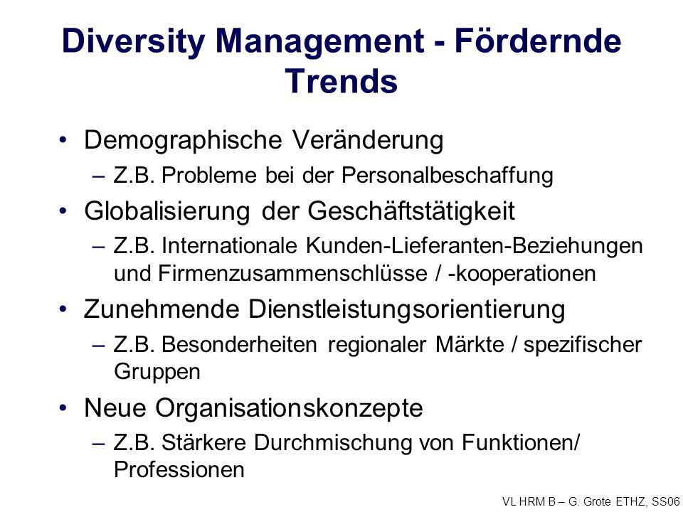 VL HRM B – G. Grote ETHZ, SS06 Diversity Management - Fördernde Trends Demographische Veränderung –Z.B. Probleme bei der Personalbeschaffung Globalisi