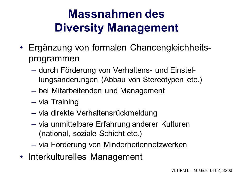 VL HRM B – G. Grote ETHZ, SS06 Massnahmen des Diversity Management Ergänzung von formalen Chancengleichheits- programmen –durch Förderung von Verhalte