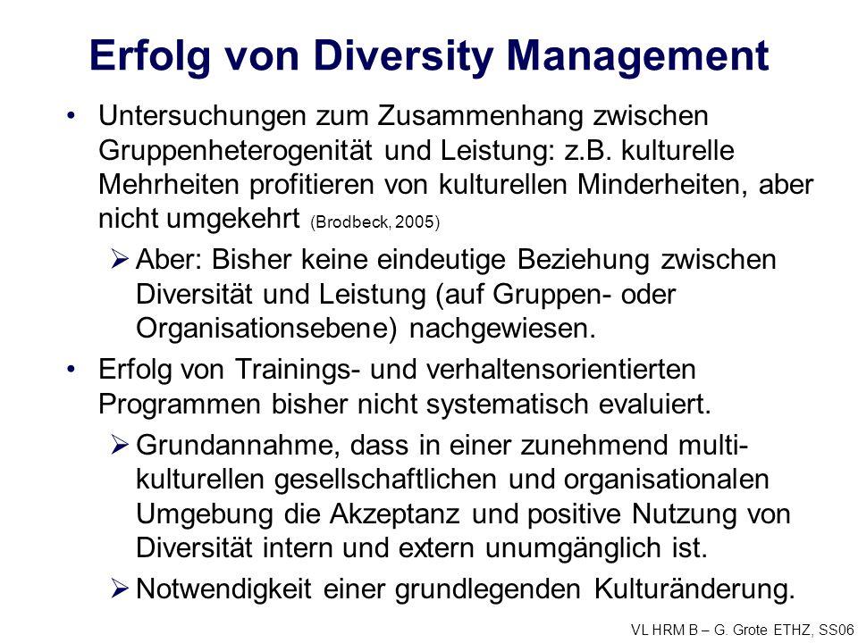 VL HRM B – G. Grote ETHZ, SS06 Erfolg von Diversity Management Untersuchungen zum Zusammenhang zwischen Gruppenheterogenität und Leistung: z.B. kultur