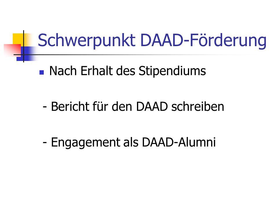 Schwerpunkt DAAD-Förderung Nach Erhalt des Stipendiums - Bericht für den DAAD schreiben - Engagement als DAAD-Alumni