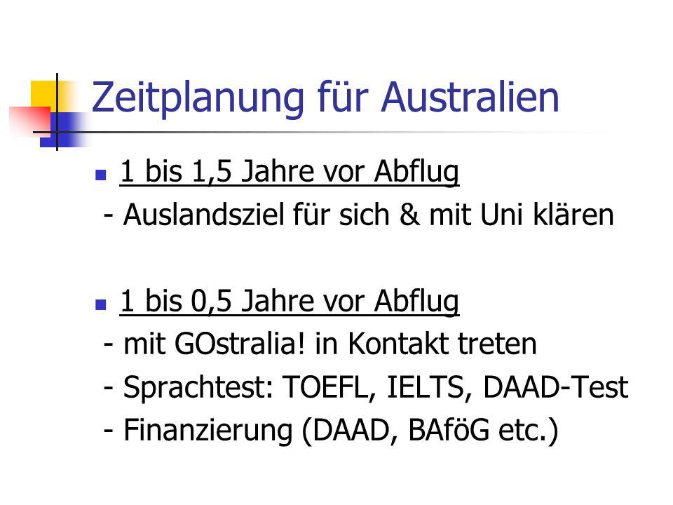 Zeitplanung für Australien 1 bis 1,5 Jahre vor Abflug - Auslandsziel für sich & mit Uni klären 1 bis 0,5 Jahre vor Abflug - mit GOstralia! in Kontakt