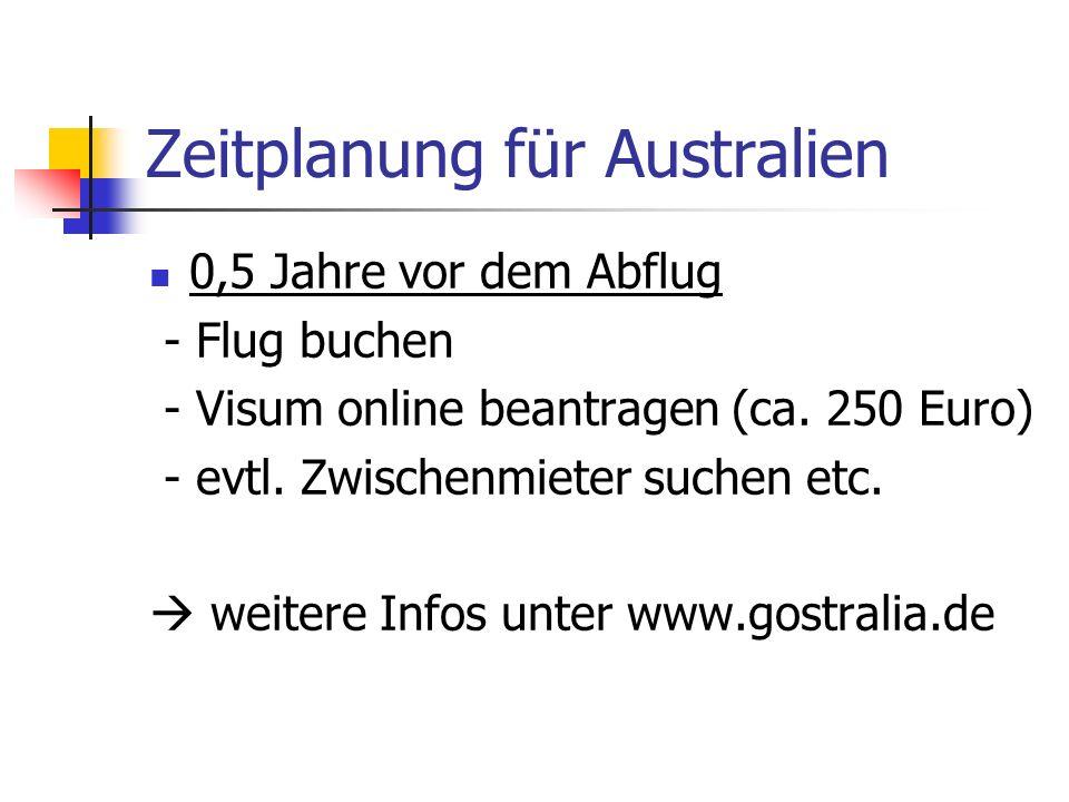 Zeitplanung für Australien 0,5 Jahre vor dem Abflug - Flug buchen - Visum online beantragen (ca. 250 Euro) - evtl. Zwischenmieter suchen etc. weitere
