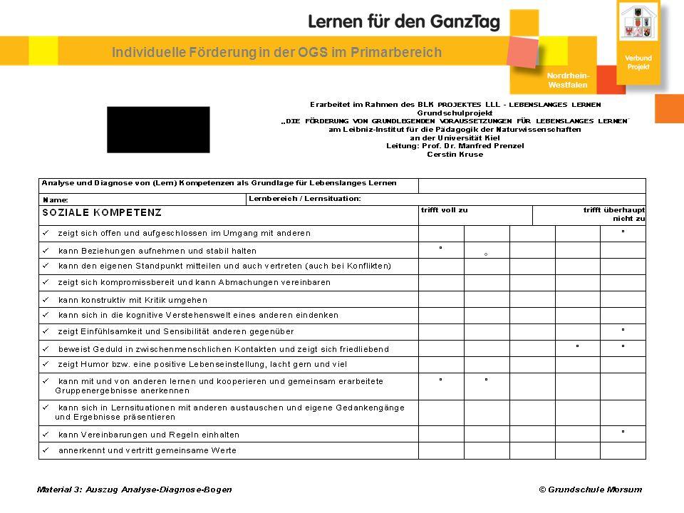 Nordrhein- Westfalen Individuelle Förderung in der OGS im Primarbereich