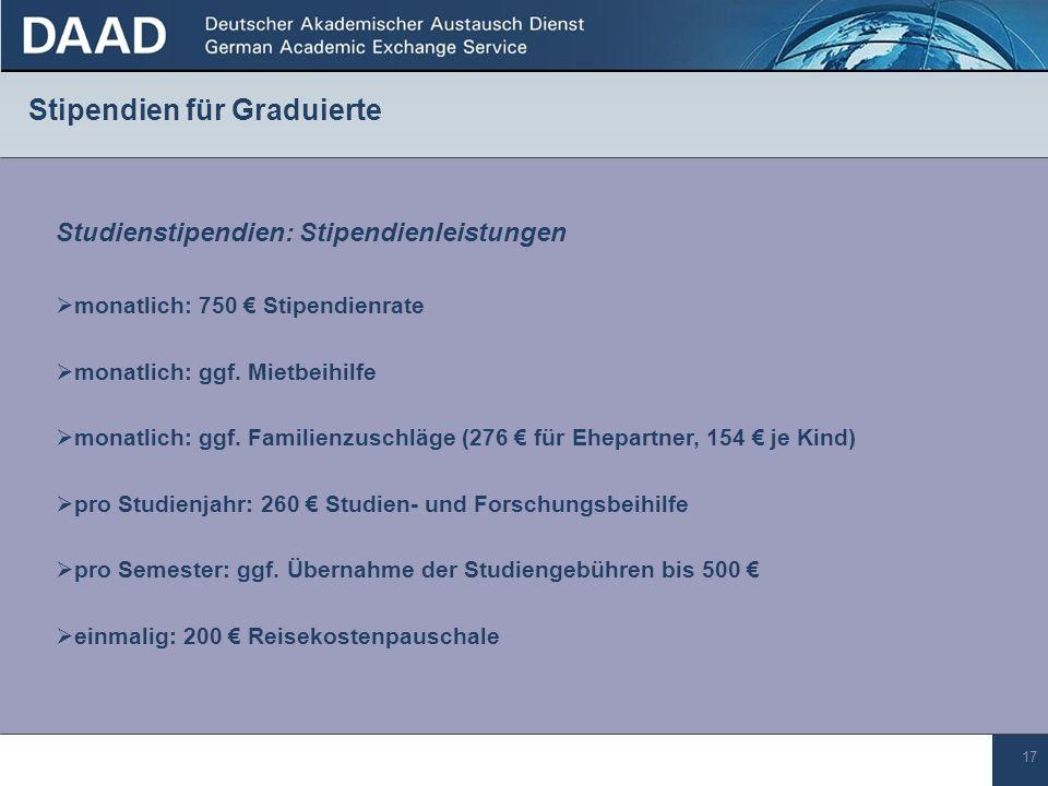 17 Stipendien für Graduierte Studienstipendien: Stipendienleistungen pro Studienjahr: 260 Studien- und Forschungsbeihilfe monatlich: 750 Stipendienrate pro Semester: ggf.