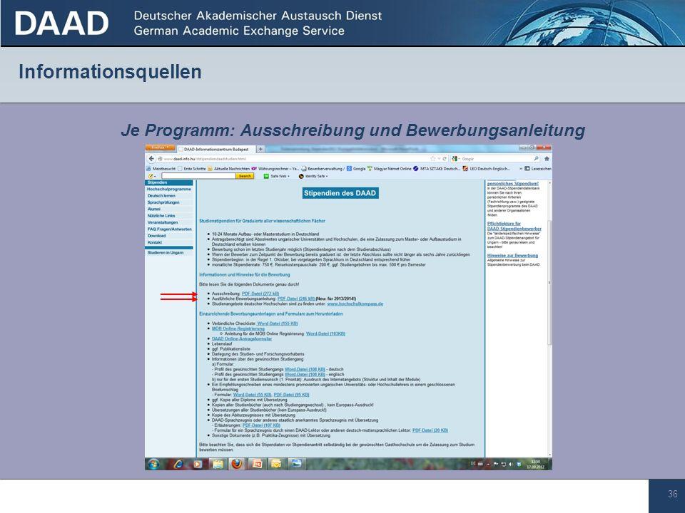 36 Informationsquellen Je Programm: Ausschreibung und Bewerbungsanleitung