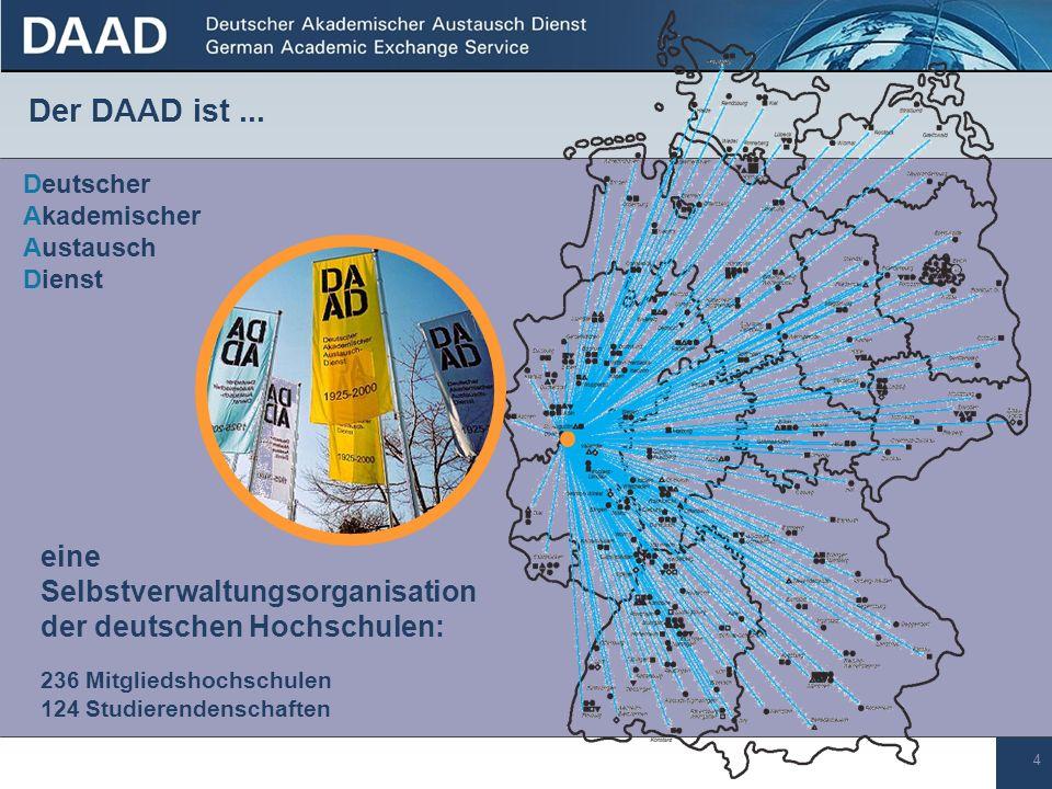 4 eine Selbstverwaltungsorganisation der deutschen Hochschulen: 236 Mitgliedshochschulen 124 Studierendenschaften Deutscher Akademischer Austausch Dienst Der DAAD ist...