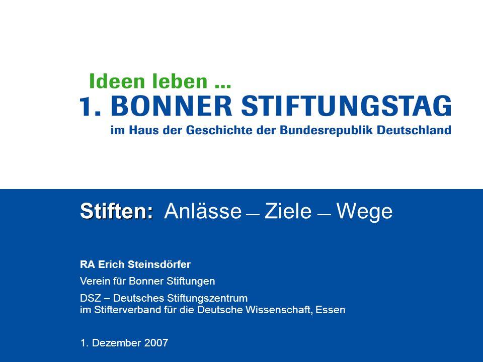 Stiften: Stiften: Anlässe Ziele Wege RA Erich Steinsdörfer Verein für Bonner Stiftungen DSZ – Deutsches Stiftungszentrum im Stifterverband für die Deu