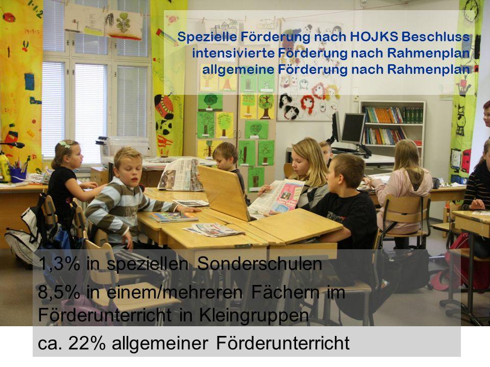Spezielle Förderung nach HOJKS Beschluss intensivierte Förderung nach Rahmenplan allgemeine Förderung nach Rahmenplan 1,3% in speziellen Sonderschulen 8,5% in einem/mehreren Fächern im Förderunterricht in Kleingruppen ca.