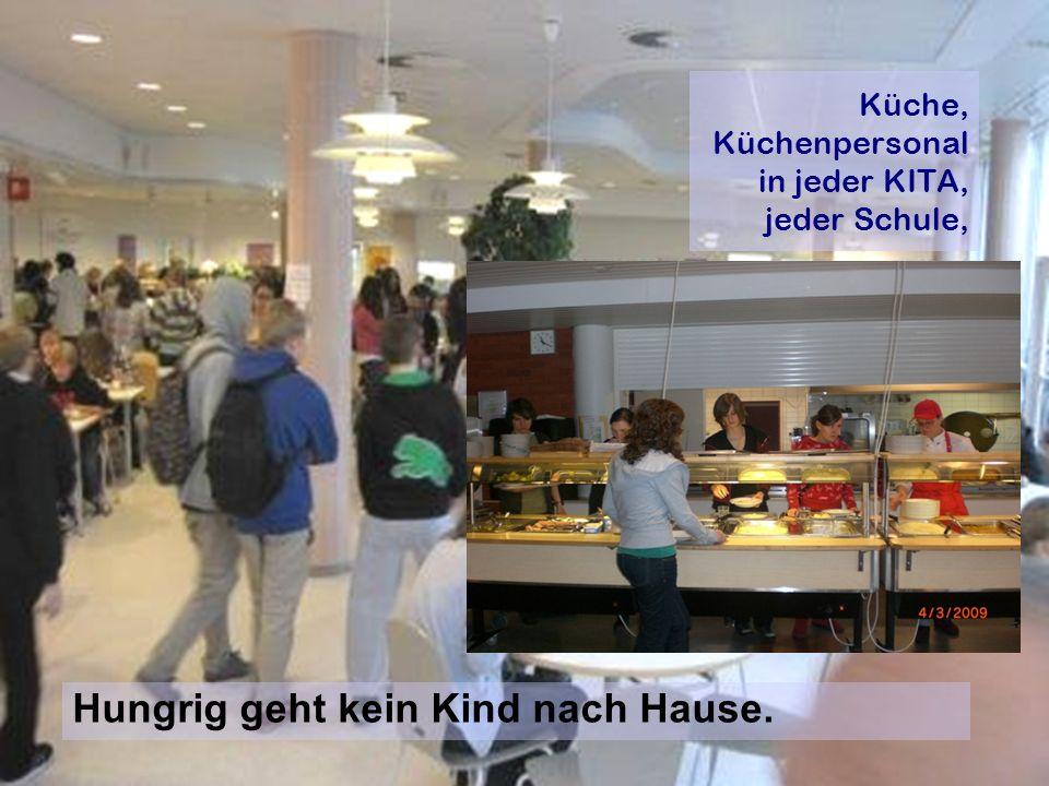 Küche, Küchenpersonal in jeder KITA, jeder Schule, Hungrig geht kein Kind nach Hause.