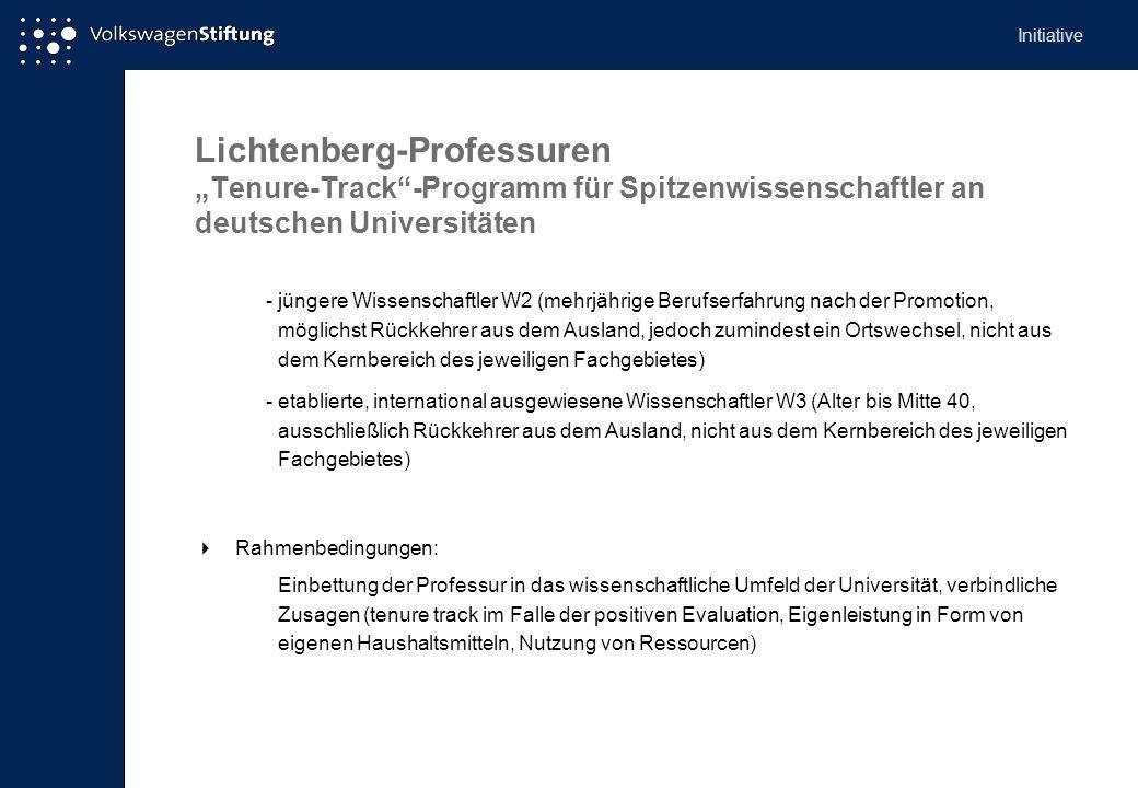 Lichtenberg-Professuren Tenure-Track-Programm für Spitzenwissenschaftler an deutschen Universitäten -jüngere Wissenschaftler W2 (mehrjährige Berufserf