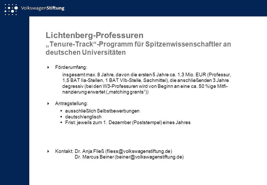 Lichtenberg-Professuren Tenure-Track-Programm für Spitzenwissenschaftler an deutschen Universitäten Förderumfang: insgesamt max. 8 Jahre, davon die er