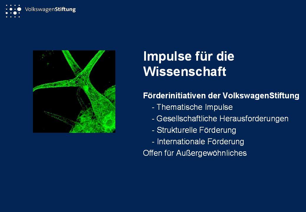 VolkswagenStiftung Kastanienallee 35 30519 Hannover Postanschrift: Postfach 81 05 09 30505 Hannover Telefon: (0511) 83 81-0 Telefax:(0511) 83 81-344 e-mail: mail@volkswagenstiftung.de Internet: http://www.volkswagenstiftung.de VolkswagenStiftung