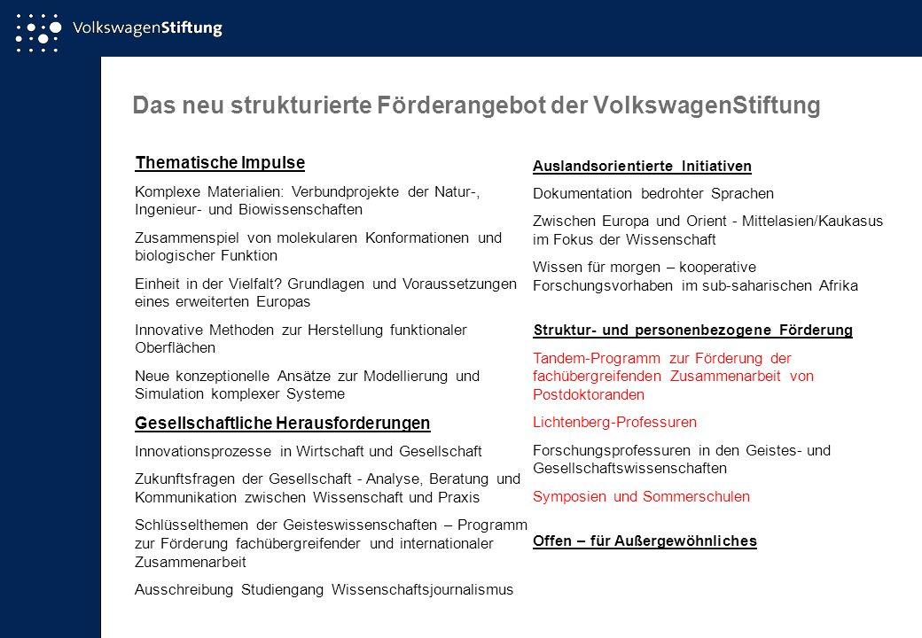 Das neu strukturierte Förderangebot der VolkswagenStiftung Thematische Impulse Komplexe Materialien: Verbundprojekte der Natur-, Ingenieur- und Biowis
