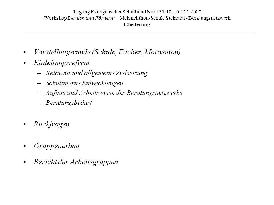 Tagung Evangelischer Schulbund Nord 31.10. - 02.11.2007 Workshop Beraten und Fördern: Melanchthon-Schule Steinatal - Beratungsnetzwerk Gliederung Vors