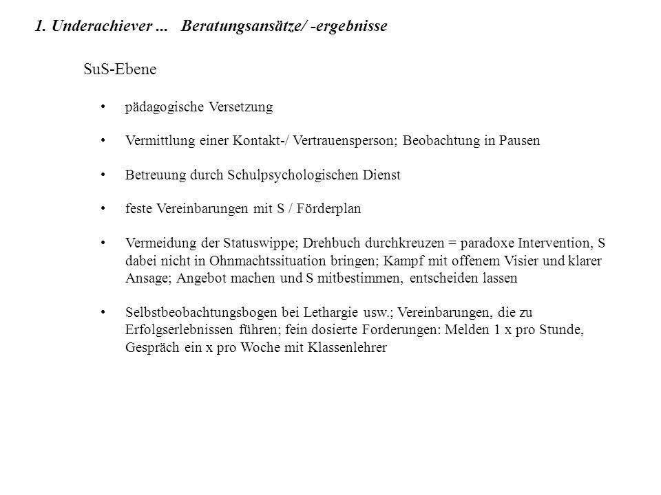 SuS-Ebene pädagogische Versetzung Vermittlung einer Kontakt-/ Vertrauensperson; Beobachtung in Pausen Betreuung durch Schulpsychologischen Dienst fest