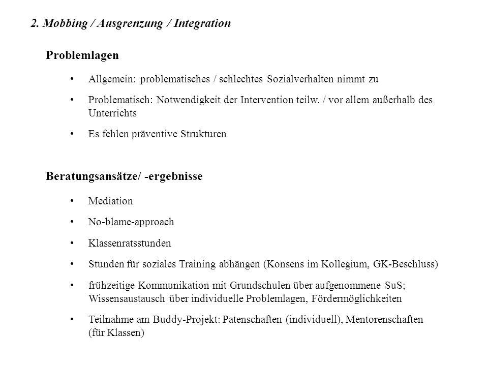 2. Mobbing / Ausgrenzung / Integration Problemlagen Allgemein: problematisches / schlechtes Sozialverhalten nimmt zu Problematisch: Notwendigkeit der