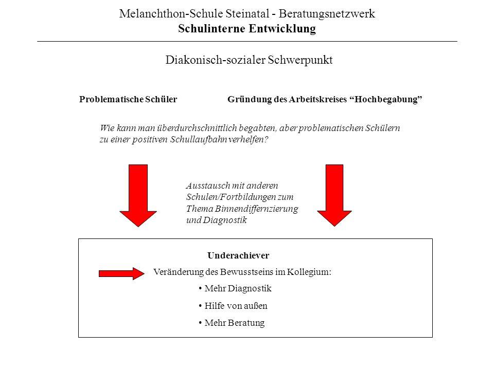 Melanchthon-Schule Steinatal - Beratungsnetzwerk Schulinterne Entwicklung Problematische SchülerGründung des Arbeitskreises Hochbegabung Underachiever