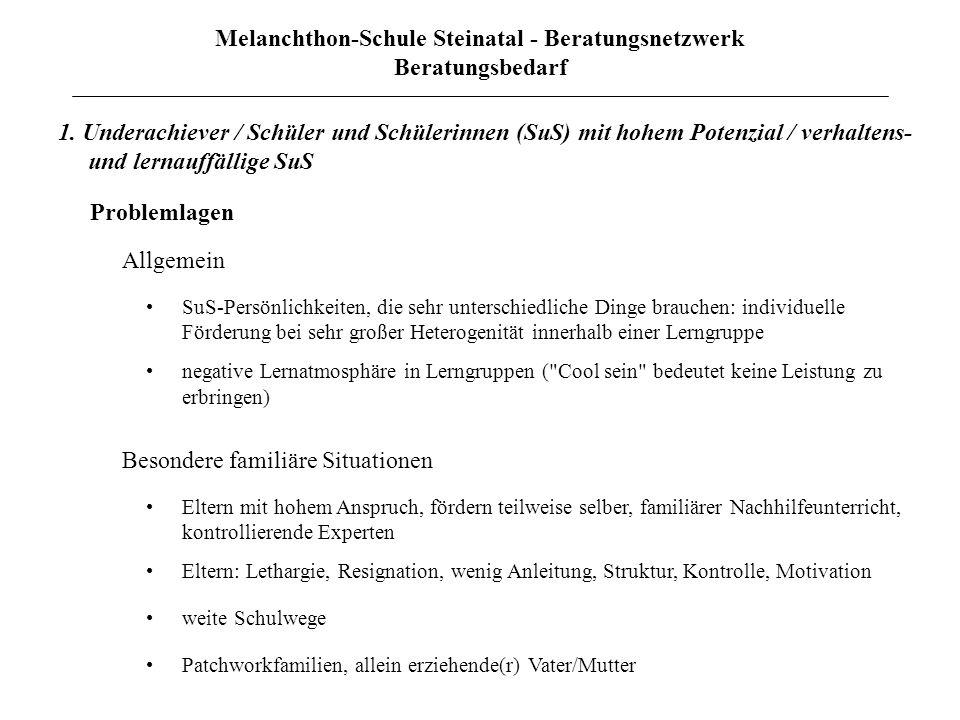 Melanchthon-Schule Steinatal - Beratungsnetzwerk Beratungsbedarf 1. Underachiever / Schüler und Schülerinnen (SuS) mit hohem Potenzial / verhaltens- u