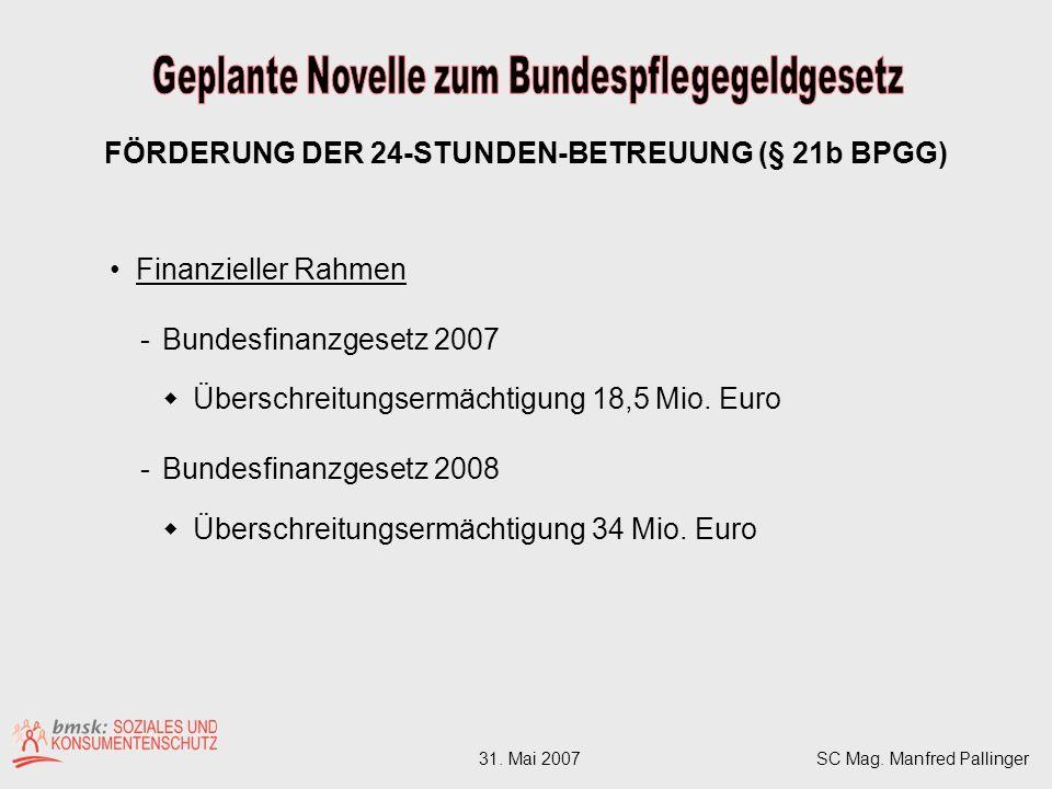 Finanzieller Rahmen -Bundesfinanzgesetz 2007 Überschreitungsermächtigung 18,5 Mio.