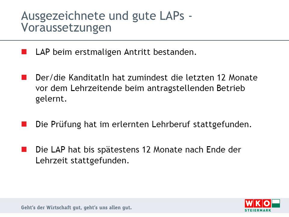 Ausgezeichnete und gute LAPs - Voraussetzungen LAP beim erstmaligen Antritt bestanden. Der/die KanditatIn hat zumindest die letzten 12 Monate vor dem