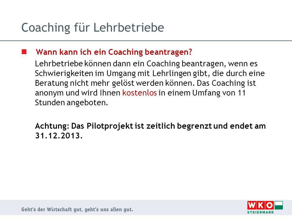 Coaching für Lehrbetriebe Wann kann ich ein Coaching beantragen? Lehrbetriebe können dann ein Coaching beantragen, wenn es Schwierigkeiten im Umgang m