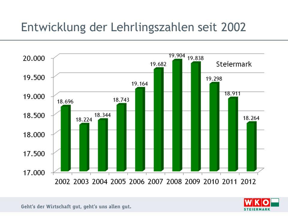 Entwicklung der Lehrlingszahlen seit 2002 Steiermark