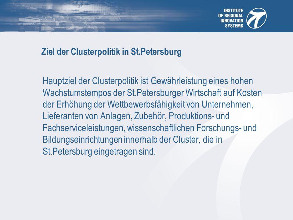 Ziel der Clusterpolitik in St.Petersburg Hauptziel der Clusterpolitik ist Gewährleistung eines hohen Wachstumstempos der St.Petersburger Wirtschaft auf Kosten der Erhöhung der Wettbewerbsfähigkeit von Unternehmen, Lieferanten von Anlagen, Zubehör, Produktions- und Fachserviceleistungen, wissenschaftlichen Forschungs- und Bildungseinrichtungen innerhalb der Cluster, die in St.Petersburg eingetragen sind.
