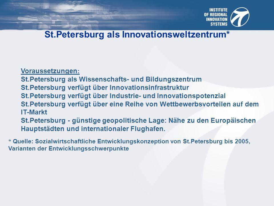 Quelle: Komitee für Wirtschaftsentwicklung, Industriepolitik und Handel St.Petersburg als Wissenschafts- und Bildungszentrum ca.