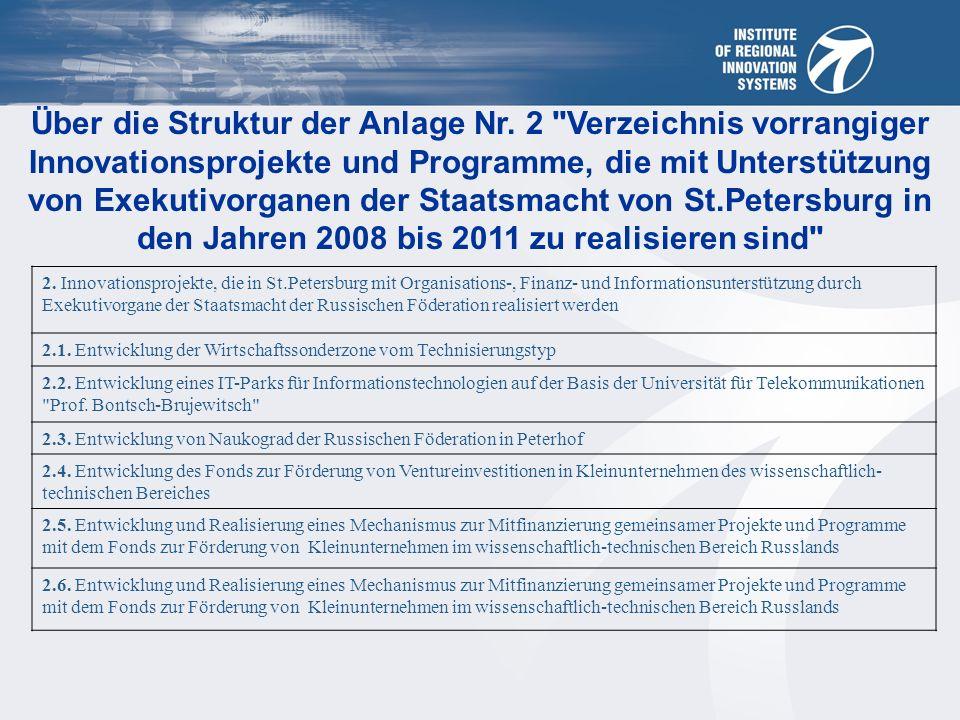 Über die Struktur der Anlage Nr.