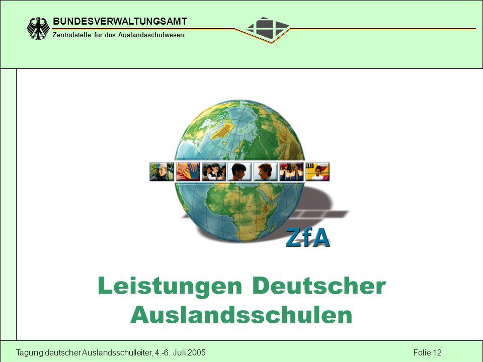 Folie 12 BUNDESVERWALTUNGSAMT Zentralstelle für das Auslandsschulwesen Tagung deutscher Auslandsschulleiter, 4.-6. Juli 2005 Leistungen Deutscher Ausl
