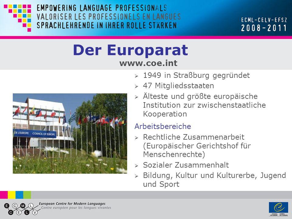 Der Europarat www.coe.int 1949 in Straßburg gegründet 47 Mitgliedsstaaten Älteste und größte europäische Institution zur zwischenstaatliche Kooperatio