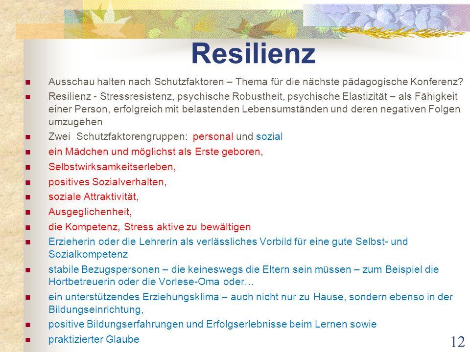 Resilienz Ausschau halten nach Schutzfaktoren – Thema für die nächste pädagogische Konferenz? Resilienz - Stressresistenz, psychische Robustheit, psyc