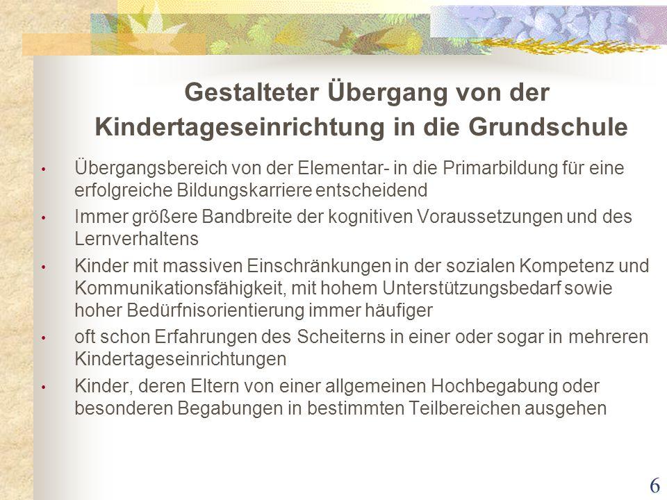 Gestalteter Übergang von der Kindertageseinrichtung in die Grundschule Übergangsbereich von der Elementar- in die Primarbildung für eine erfolgreiche