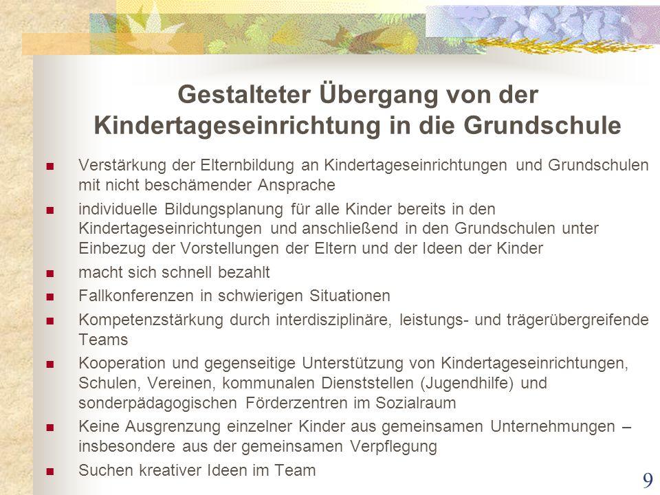 Gestalteter Übergang von der Kindertageseinrichtung in die Grundschule Verstärkung der Elternbildung an Kindertageseinrichtungen und Grundschulen mit