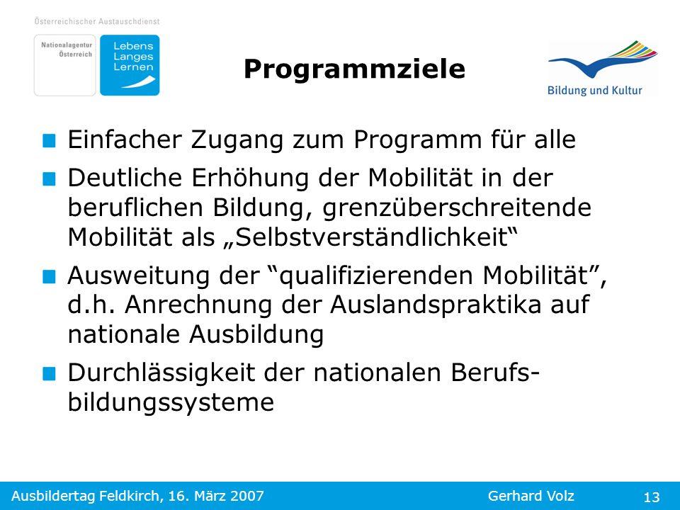 Ausbildertag Feldkirch, 16. März 2007Gerhard Volz 13 Programmziele Einfacher Zugang zum Programm für alle Deutliche Erhöhung der Mobilität in der beru