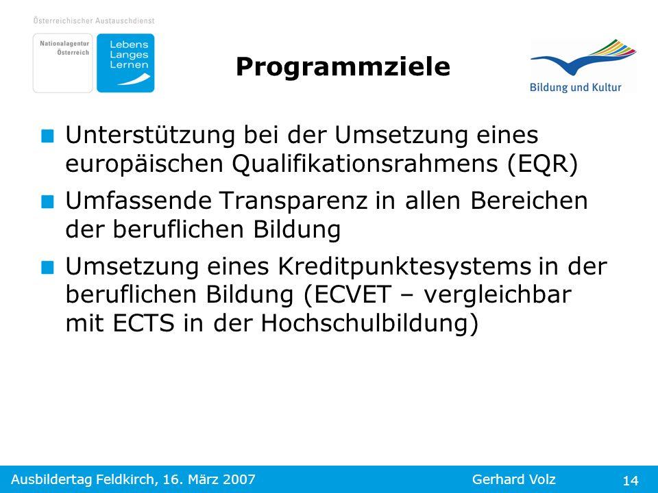 Ausbildertag Feldkirch, 16. März 2007Gerhard Volz 14 Programmziele Unterstützung bei der Umsetzung eines europäischen Qualifikationsrahmens (EQR) Umfa