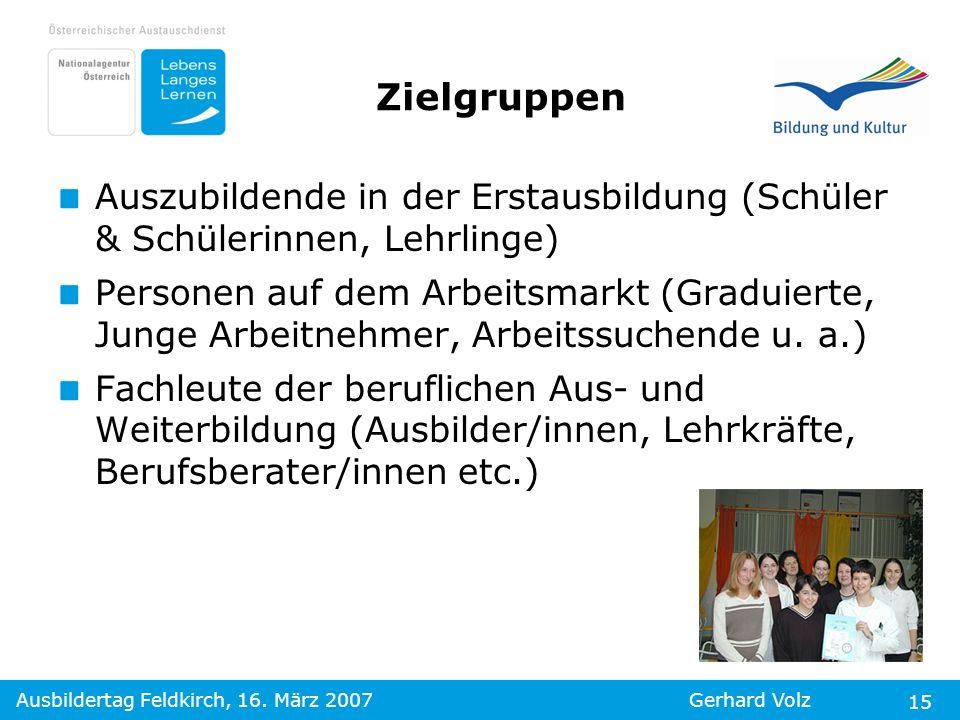 Ausbildertag Feldkirch, 16. März 2007Gerhard Volz 15 Zielgruppen Auszubildende in der Erstausbildung (Schüler & Schülerinnen, Lehrlinge) Personen auf