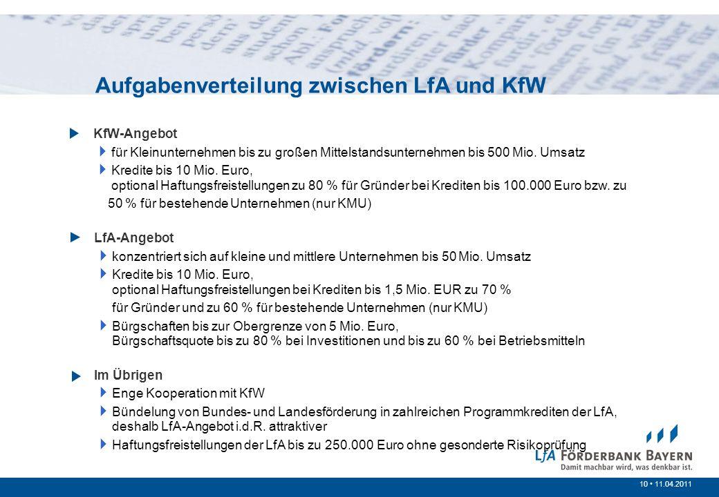 10 /200710 11.04.2011 Prinzipien der öffentlichen Förderung KfW-Angebot für Kleinunternehmen bis zu großen Mittelstandsunternehmen bis 500 Mio. Umsatz