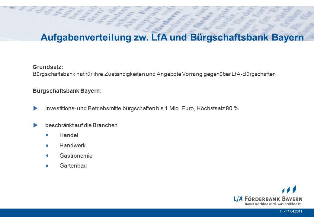 11 /200711 11.04.2011 Investitions- und Betriebsmittelbürgschaften bis 1 Mio. Euro, Höchstsatz 80 % beschränkt auf die Branchen Handel Handwerk Gastro