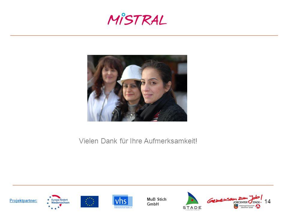 14 Projektpartner: MuB Stich GmbH Vielen Dank für Ihre Aufmerksamkeit!