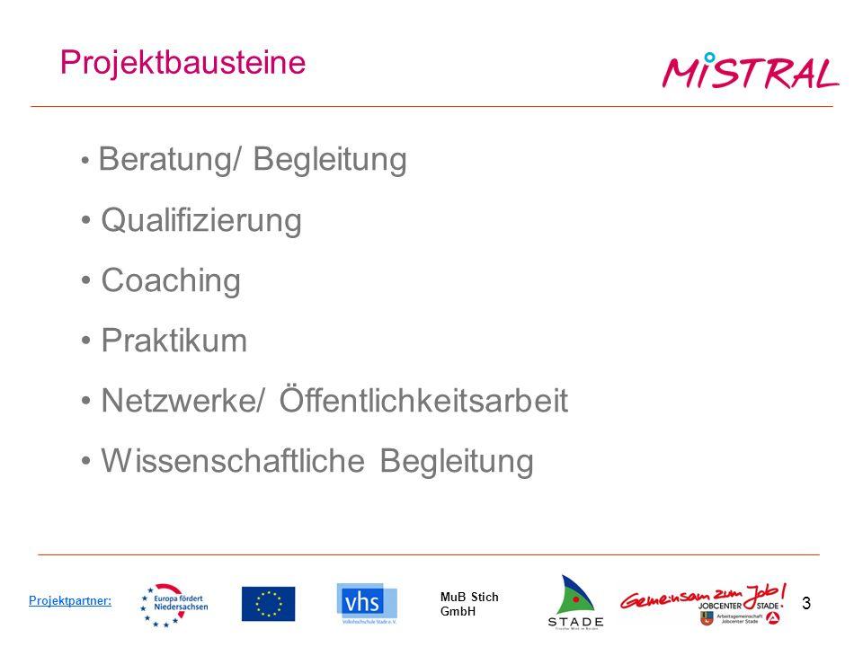 3 Projektbausteine Projektpartner: MuB Stich GmbH Beratung/ Begleitung Qualifizierung Coaching Praktikum Netzwerke/ Öffentlichkeitsarbeit Wissenschaftliche Begleitung