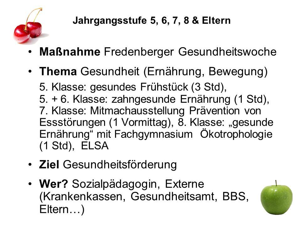 Jahrgangsstufe 5, 6, 7, 8 & Eltern Maßnahme Fredenberger Gesundheitswoche Thema Gesundheit (Ernährung, Bewegung) 5. Klasse: gesundes Frühstück (3 Std)
