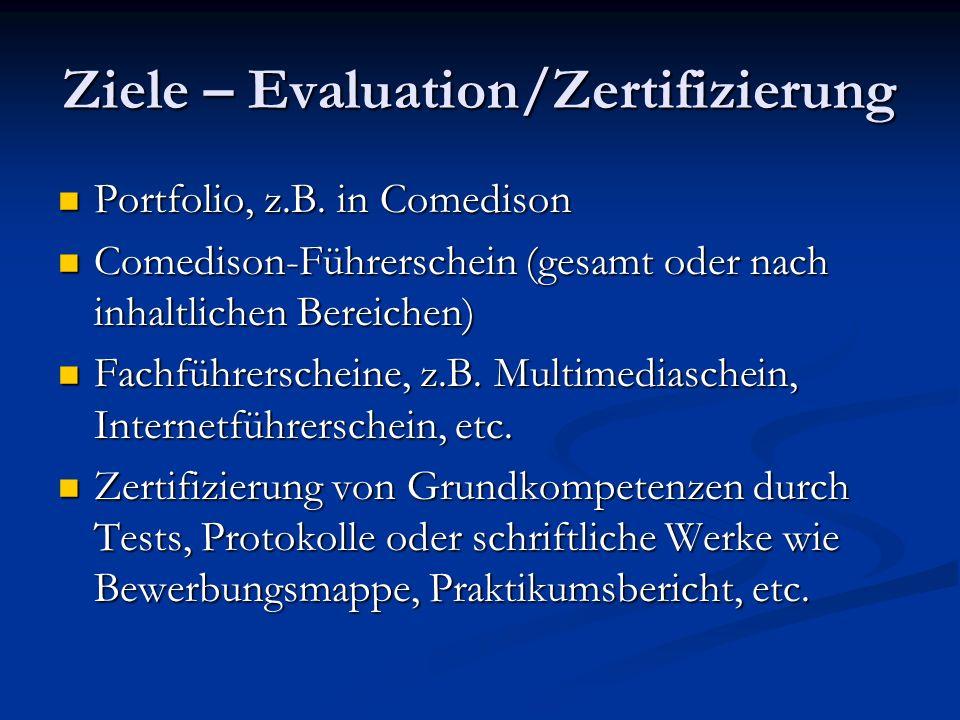 Ziele – Evaluation/Zertifizierung Portfolio, z.B.in Comedison Portfolio, z.B.