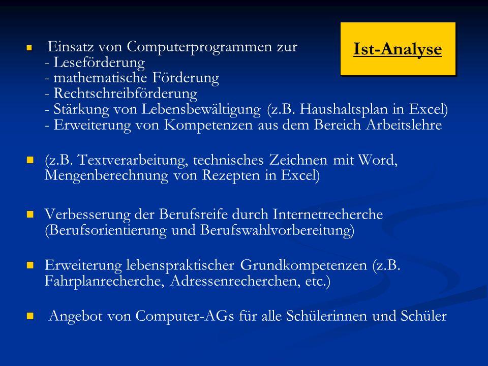Einsatz von Computerprogrammen zur - Leseförderung - mathematische Förderung - Rechtschreibförderung - Stärkung von Lebensbewältigung (z.B.