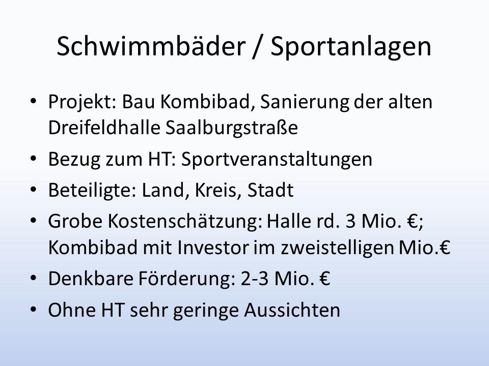 Schwimmbäder / Sportanlagen Projekt: Bau Kombibad, Sanierung der alten Dreifeldhalle Saalburgstraße Bezug zum HT: Sportveranstaltungen Beteiligte: Lan