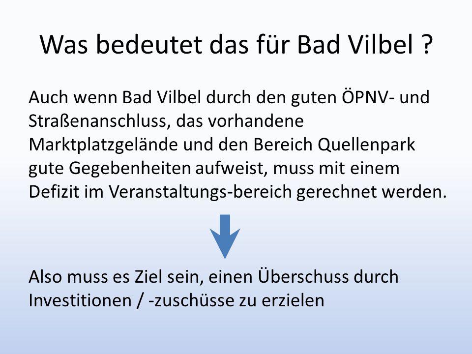 Was bedeutet das für Bad Vilbel ? Auch wenn Bad Vilbel durch den guten ÖPNV- und Straßenanschluss, das vorhandene Marktplatzgelände und den Bereich Qu