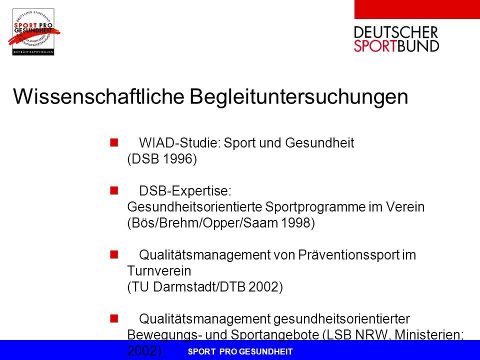 SPORT PRO GESUNDHEIT Wissenschaftliche Begleituntersuchungen WIAD-Studie: Sport und Gesundheit (DSB 1996) DSB-Expertise: Gesundheitsorientierte Sportp