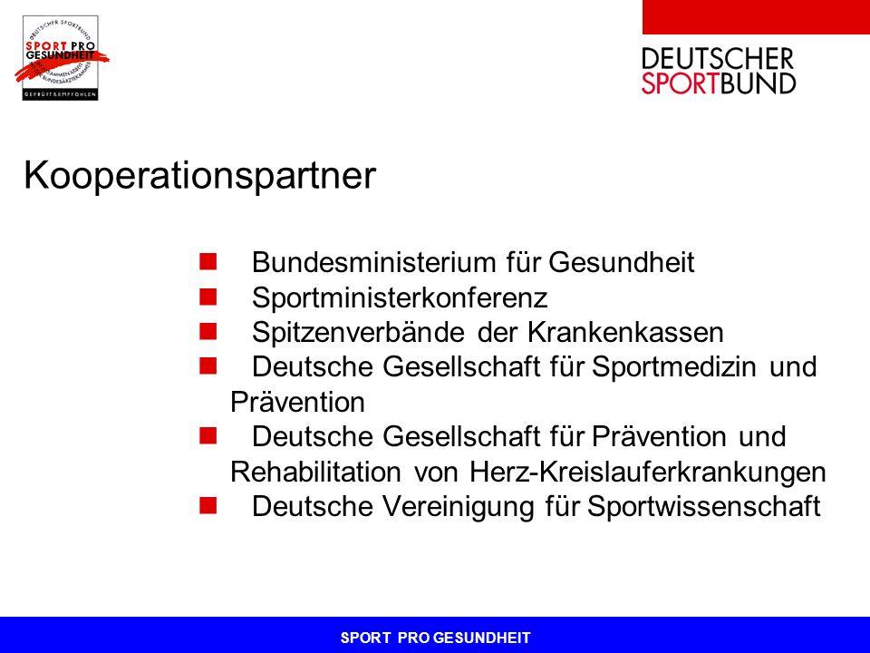 SPORT PRO GESUNDHEIT Kooperationspartner Bundesministerium für Gesundheit Sportministerkonferenz Spitzenverbände der Krankenkassen Deutsche Gesellscha