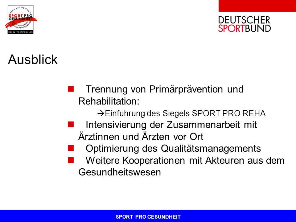 Ausblick Trennung von Primärprävention und Rehabilitation: Einführung des Siegels SPORT PRO REHA Intensivierung der Zusammenarbeit mit Ärztinnen und Ä