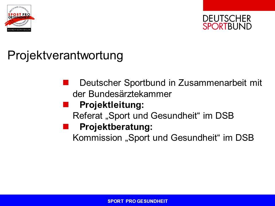SPORT PRO GESUNDHEIT Projektverantwortung Deutscher Sportbund in Zusammenarbeit mit der Bundesärztekammer Projektleitung: Referat Sport und Gesundheit